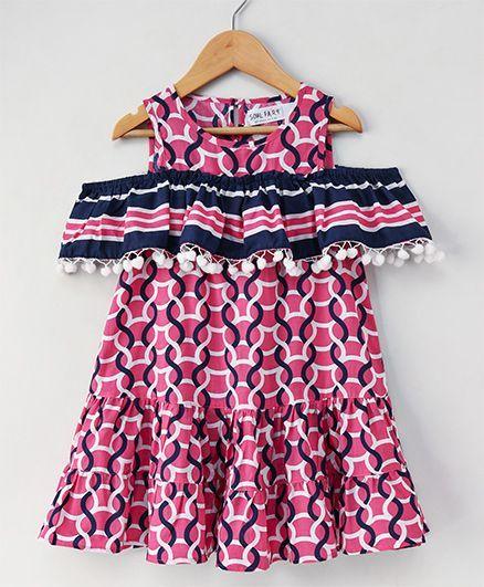 35aa2fbcb305 Buy Soul Fairy Cold Shoulder Designer Dress Pink for Girls (12-18 ...