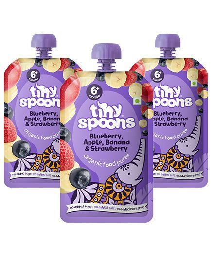 Tiny Spoons Organic Blueberry Apple Banana & Strawberry Puree Pack of 3 - 120 gm each
