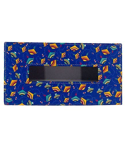 The Crazy Me Leatherette Tissue Box Holder Kite Print - Blue