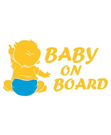 Syga Baby On Board Baby Pointing Car Sticker - Yellow