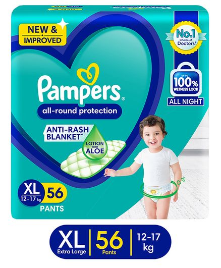 Pampers All round Protection Pants, Extra Large size  (XL) 56 Count, Anti Rash diapers, Lotion with Aloe Vera