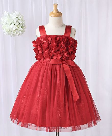 Babyhug Singlet Party Wear Frock Floral Corsage - Red