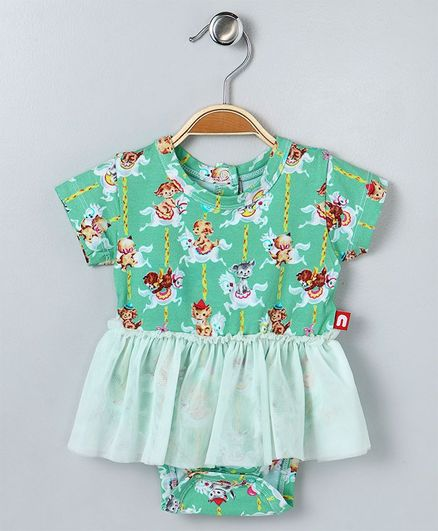 fd6f8caa97f27 Buy Nino Bambino Doll Printed Onesie Dress Green for Girls (3-6 Months)  Online in India, Shop at FirstCry.com - 2108684