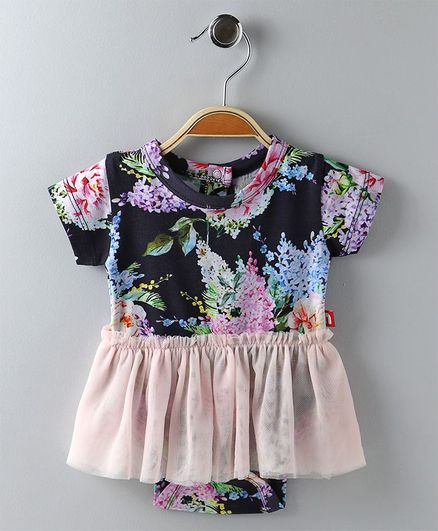 70d3db4a06aeb Buy Nino Bambino Floral Print Onesie Dress Black for Girls (0-3 Months)  Online in India, Shop at FirstCry.com - 2108688