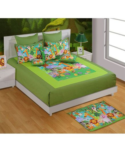 37233c1e67 Swayam Jungle Theme Double Bed Sheet With 2 Pillow Cover Green ...