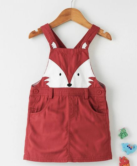 c9b78fa8eb65 Buy Beebay Singlet Frock Animal Face Patch Maroon for Girls (0-3 ...