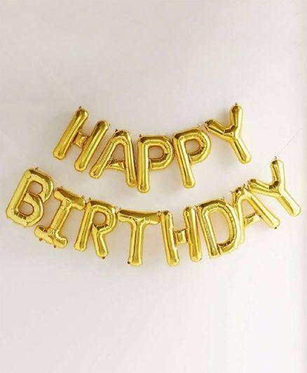 Shopperskart Happy Birthday Foil Balloons Golden