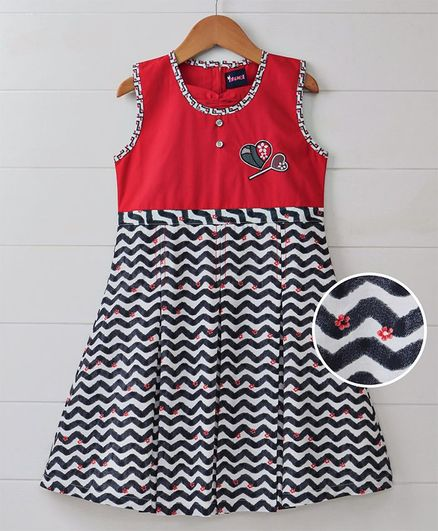 a4ebc0d2d2626 Buy Enfance Zig Zag Print Sleeveless Dress Red for Girls (3-4 Years) Online  in India, Shop at FirstCry.com - 2146622