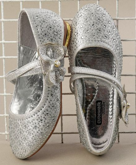 ed2a4b9089ab Cute Walk by Babyhug Party Wear Belly Shoes Bow   Studded Detail - Silver