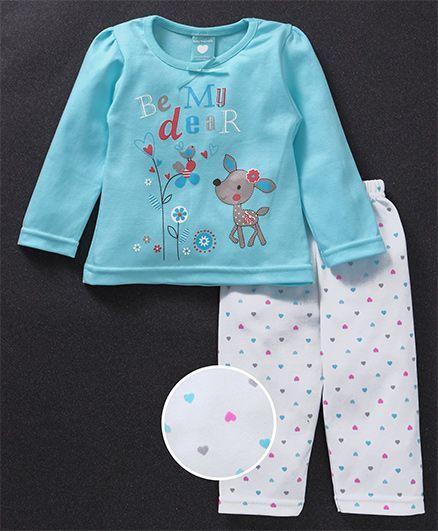 de9273b34c Buy Baby Naturelle & Me Full Sleeves Night Suit Deer & Hearts Print ...