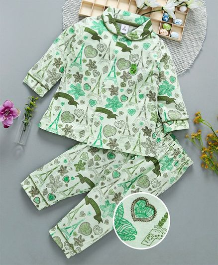 ToffyHouse Full Sleeves Printed Night Suit - Light Green