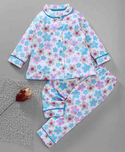 b7a836859 Buy Baby Naturelle   Me Full Sleeves Night Suit Floral Print Blue for ...