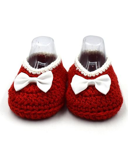 Magic Needles Handmade Crochet Turkish Yarn Booties With A Bow - Red
