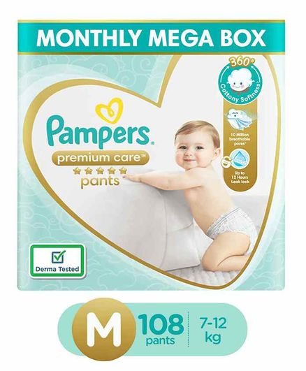 Pampers Premium Care Pants, Medium size baby diapers (MD), 108 Count, Softest ever Pampers pants