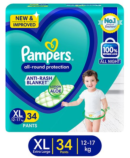 Pampers All round Protection Pants, Medium size  (MD) 76 Count, Anti Rash diapers, Lotion with Aloe Vera