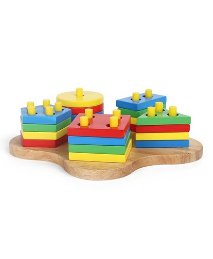 Little Genius Wooden Button Hole Shape Sorter - Multi Colour