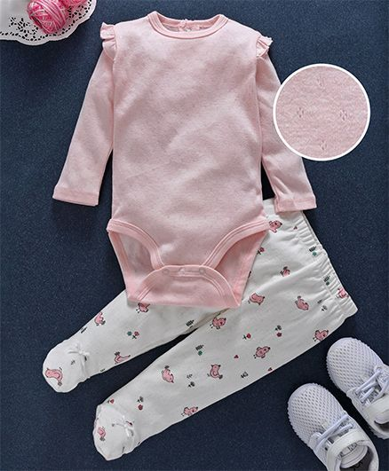 Fox Baby Full Sleeves Onesie & Footed Leggings Bird Print - Pink & White