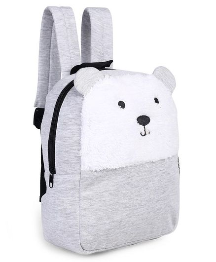 Fox Baby Plush Backpack Panda Design White Grey - 11.4 inches
