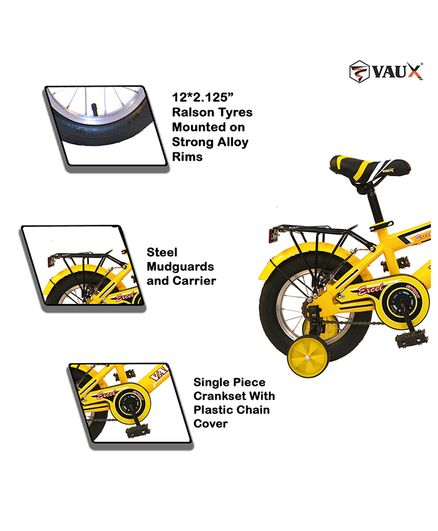 adc69a68c Vaux Excel Bicycle With Trainer Wheels Yellow 12 inches Online in ...