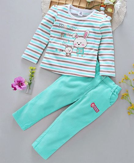 ToffyHouse Full Sleeves Tee And Corduroy Pants Bunny Patch - Sea Green White