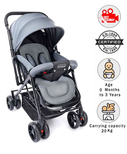 Babyhug Symphony Stroller With Reverisble Handle & Mosquito Net - Grey