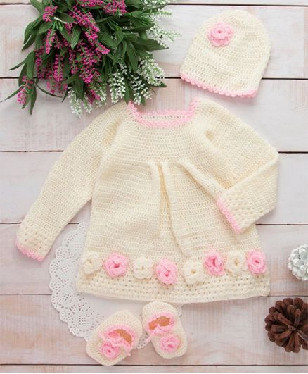 89de12eabc35 Buy The Original Knit Woolen Frock Flower Design Set With Cap ...