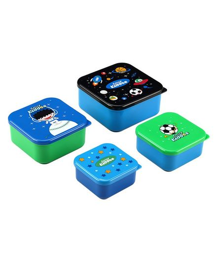 Smilykiddos Multipurpose container Pack of 4- Blue Green & Black