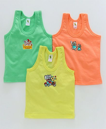 c45d62f8 Cucumber Sleeveless Vests Pack of 3 - Orange Green Yellow. 6 to ...