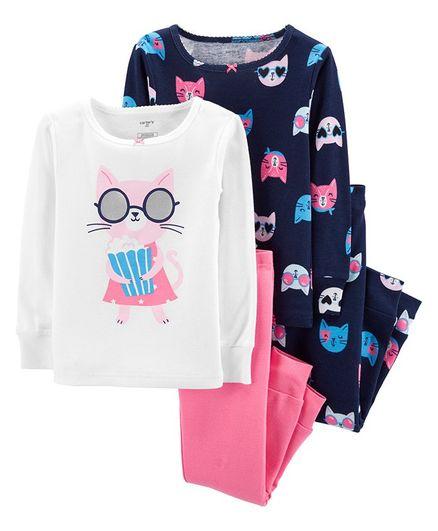 2d06b967a162 Buy Carters 4Piece Cat Snug Fit Cotton PJs Multicolour for Girls (9-12 ...