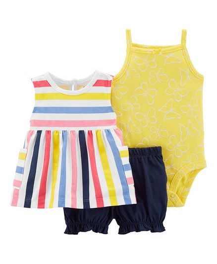 e93fbda1c819 Buy Carters 3Piece Little Bubble Short Set Yellow Multicolour for Girls ...