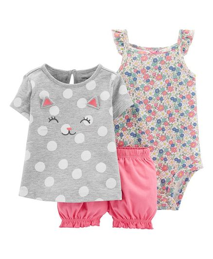 18 Months Pink Carters Baby Girls French Terry Pull On Bubble Shorts