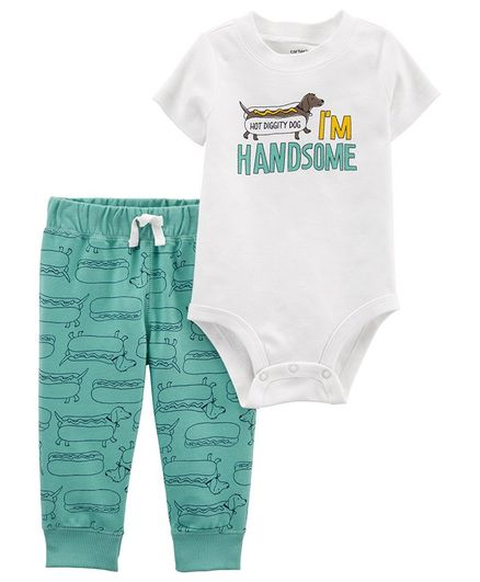 9027e75d2 Buy Carters 2Piece Hot Dog Bodysuit Pant Set White Mint Green for ...