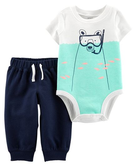 04cb610244599 Buy Carters 2Piece Polar Bear Bodysuit Pant Set White Blue for Boys ...