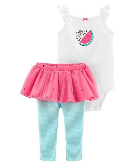 Buy Carter S 2 Piece Watermelon Bodysuit Tutu Pant Set White Pink For Girls 0 3 Months Online In India Shop At Firstcry Com 2194247
