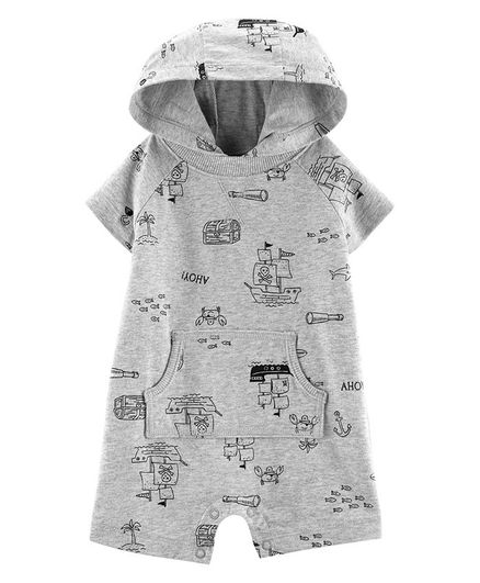 Carter's Pirate Hooded Romper - Grey