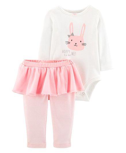 74d602394 Buy Carters 2Piece Bunny Bodysuit & Tutu Pant Set White Pink for Girls