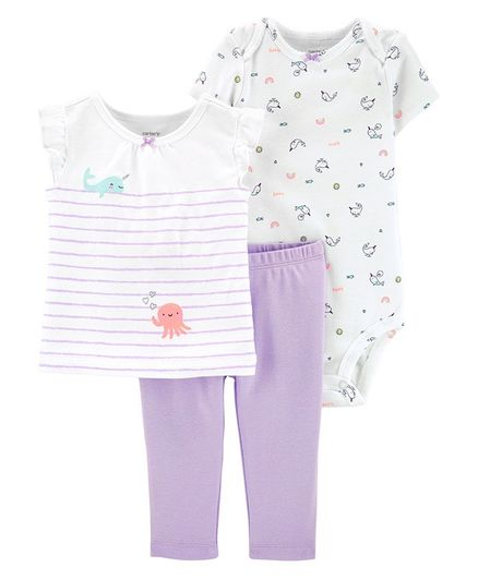 Carter's 3-Piece Jellyfish Little Character Set - White Lavender