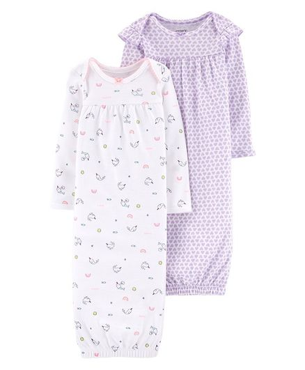 6b8c083631f6 Carter s 2-Pack Baby Soft Sleeper Gowns - Purple White. 0 to 3 Months ...