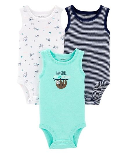 663718a38 Buy Carters 3Pack Sloth Tank Bodysuits Blue White for Boys (6-9 ...