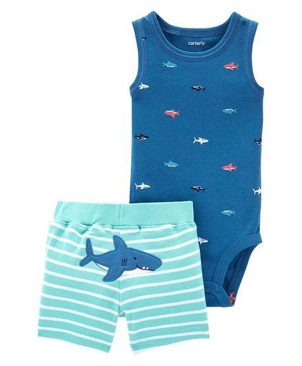2285f0322 Carter's 2-Piece Shark Bodysuit & Short Set - Blue. 3 to 6 Months ...