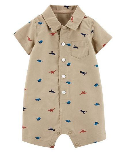 2ae67a251 Buy Carters Dinosaur ButtonFront Romper Beige for Boys (3-6 Months ...