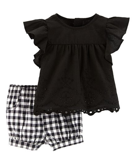 8da318146f647 Buy Carters 2Piece Eyelet Top & Gingham Short Set Black White for Girls  (0-3 Months) Online in India, Shop at FirstCry.com - 2195875