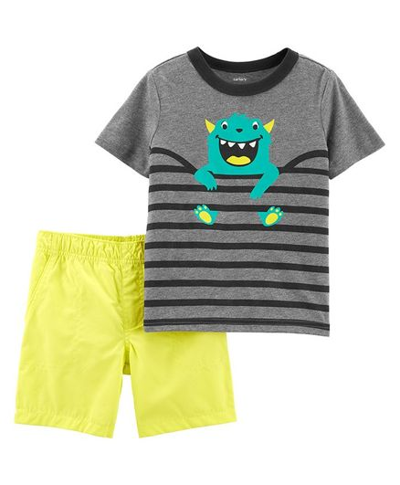 3f99ff224 Buy Carters 2Piece Monster Tee & Poplin Short Set Grey Yellow for Boys