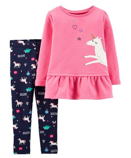 Carter/'s Girls 3 Piece Outfit Set NWT Size 2T Yes I Believe In Unicorns