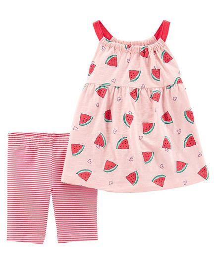 Carter's 2-Piece Watermelon Tank & Bike Short Set - Pink