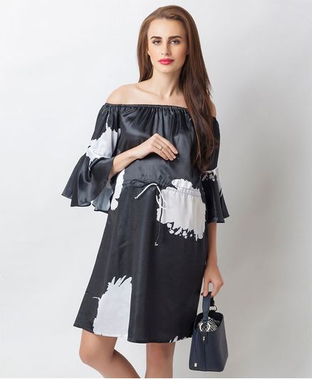 0b69add55e5a4 Blush 9 Printed Off Shoulder Maternity Dress Black Online in India ...