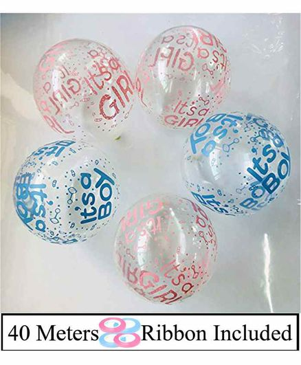 Amfin Baby Shower Balloons Pink Blue - Pack of 104