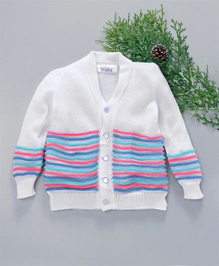 59a13158b Buy Little Angels Full Sleeves Striped Sweater White for Girls (6-12 ...