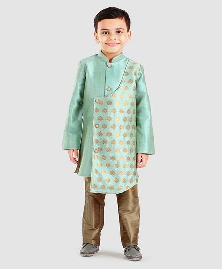 Little Aryan Full Sleeves Printed Asymmetrical Sherwani And Pyjama Set - Aqua Green Golden