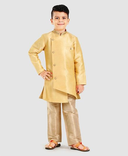 Little Aryan Full Sleeves Sherwani & Pyjama Set - Golden